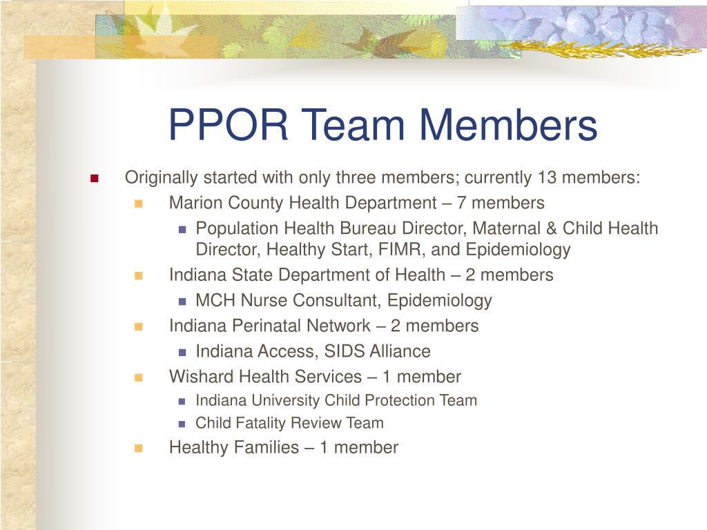 PPOR Team Members