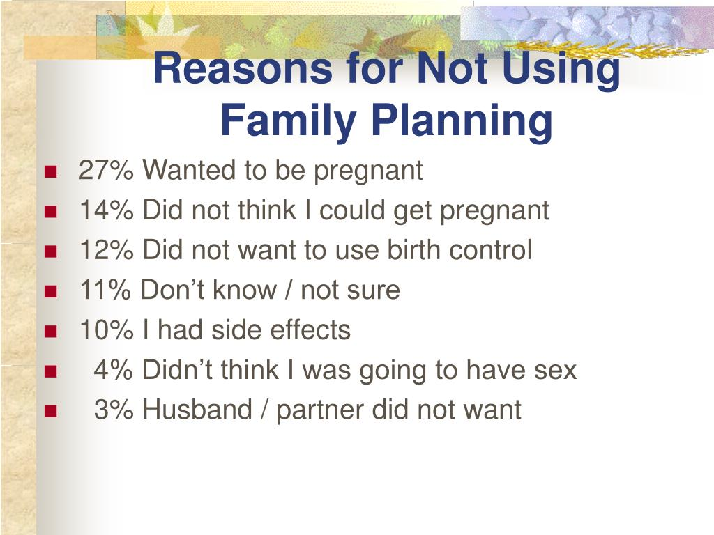 Reasons for Not Using Family Planning