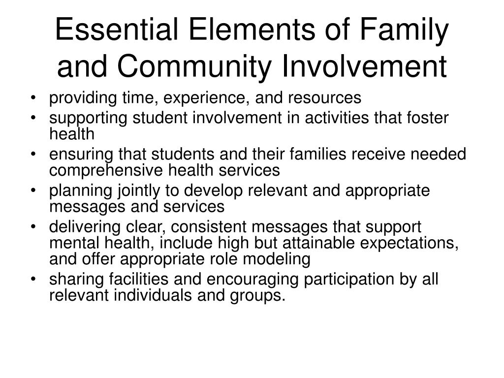 Essential Elements of Family and Community Involvement