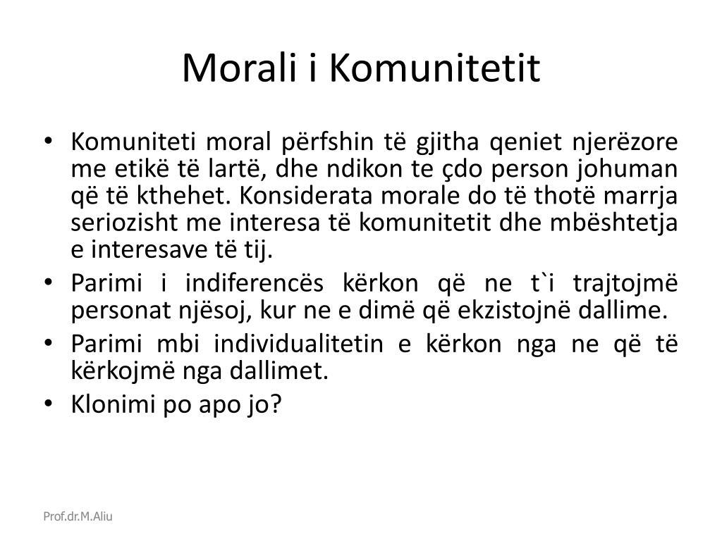 Morali i Komuniteti