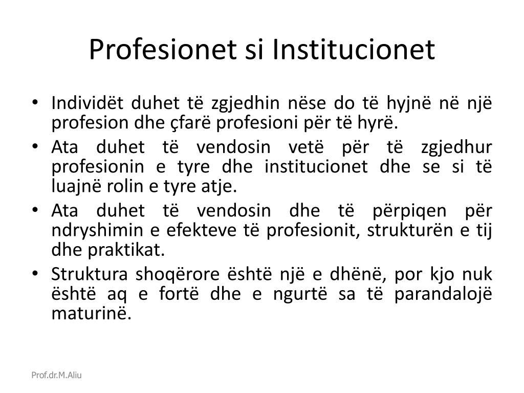 Profesionet si Institucionet