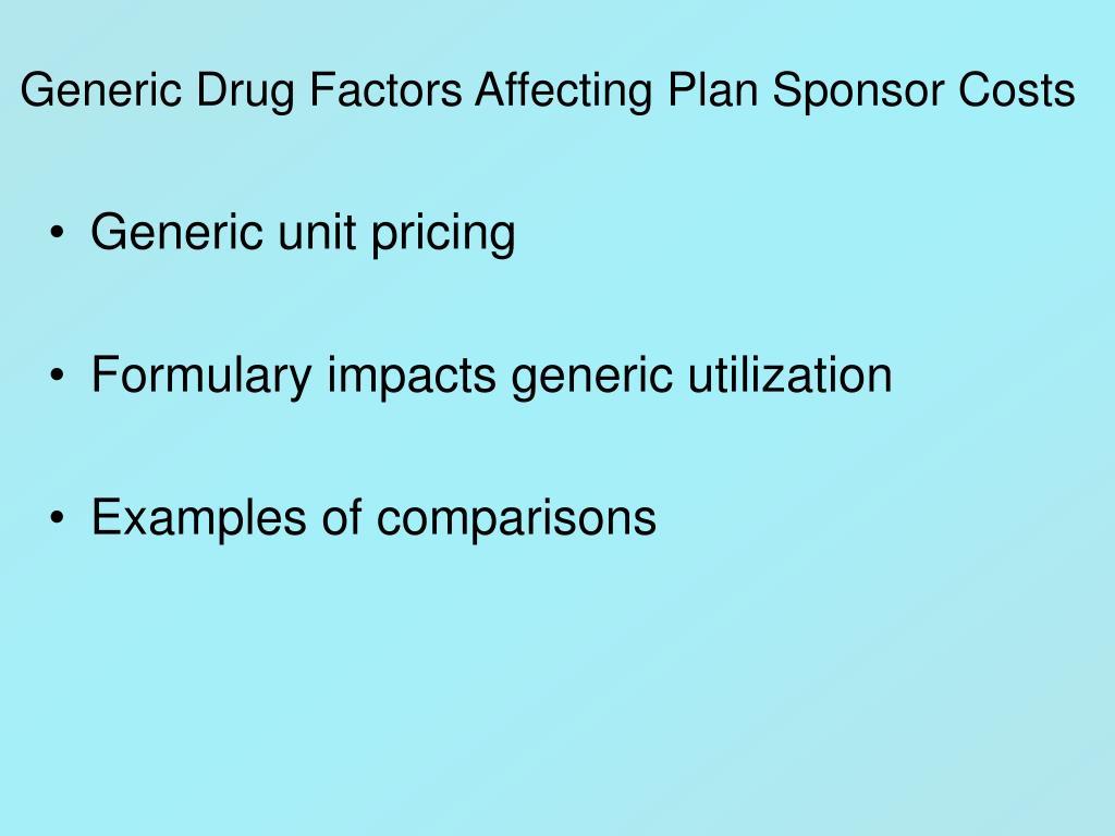 Generic Drug Factors Affecting Plan Sponsor Costs