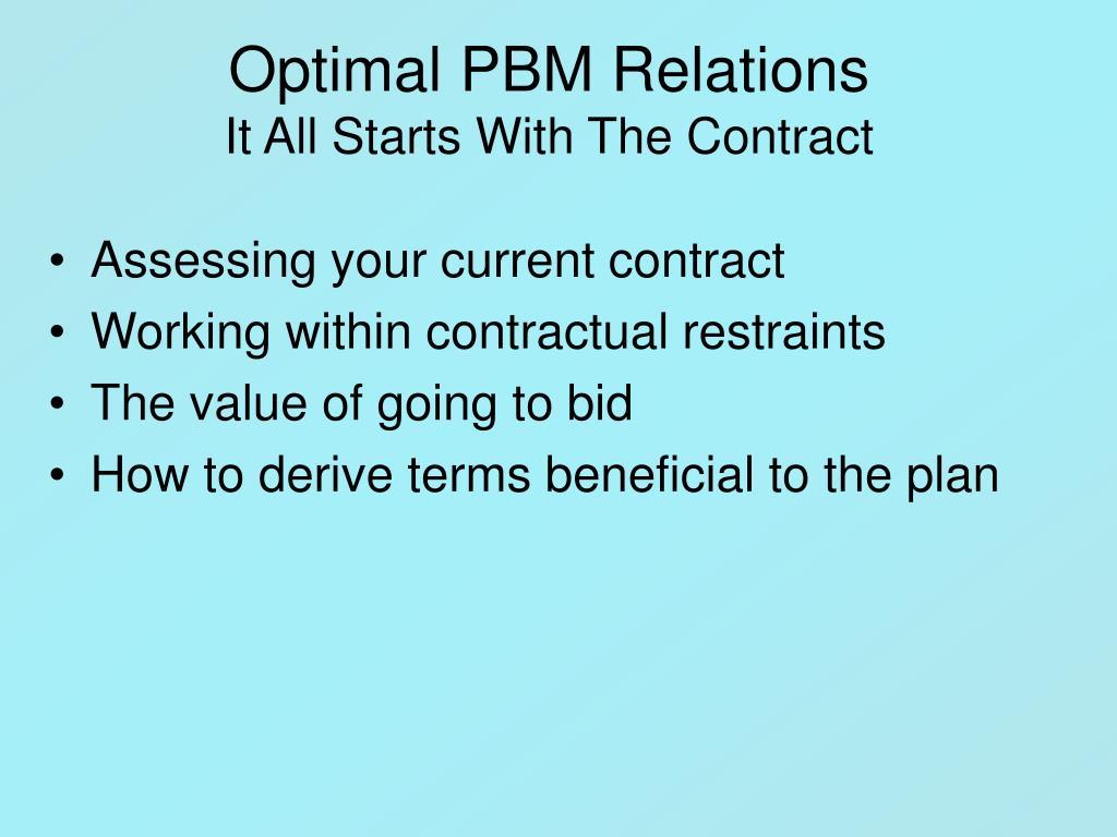 Optimal PBM Relations