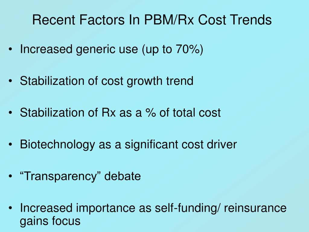 Recent Factors In PBM/Rx Cost Trends
