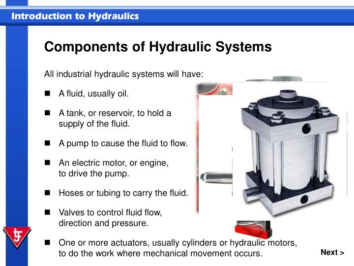 Components of hydraulic systems