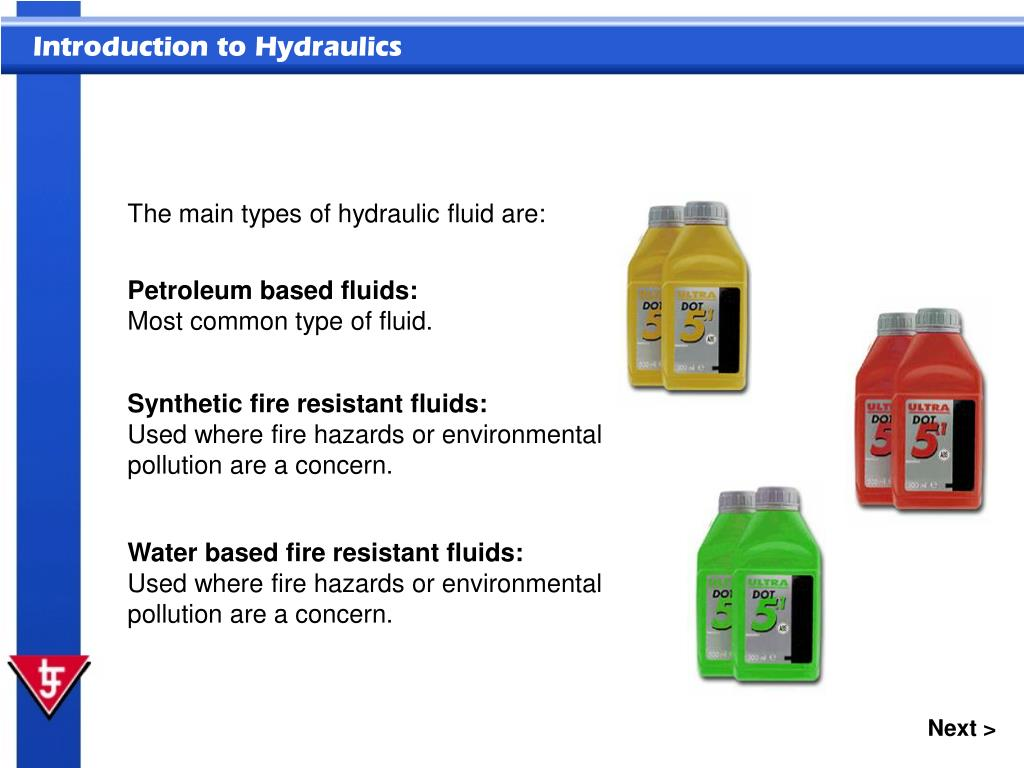 The main types of hydraulic fluid are: