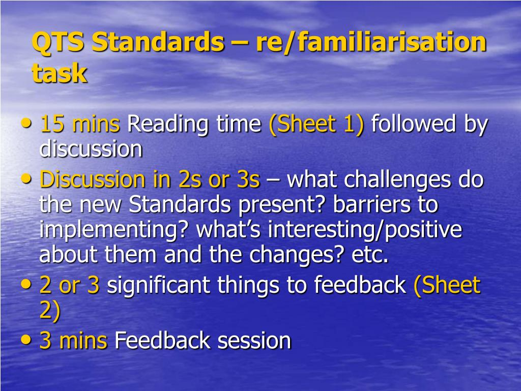 QTS Standards – re/familiarisation task