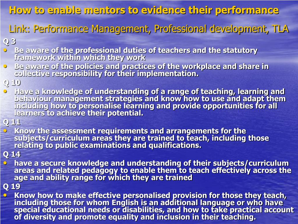 How to enable mentors to evidence their performance