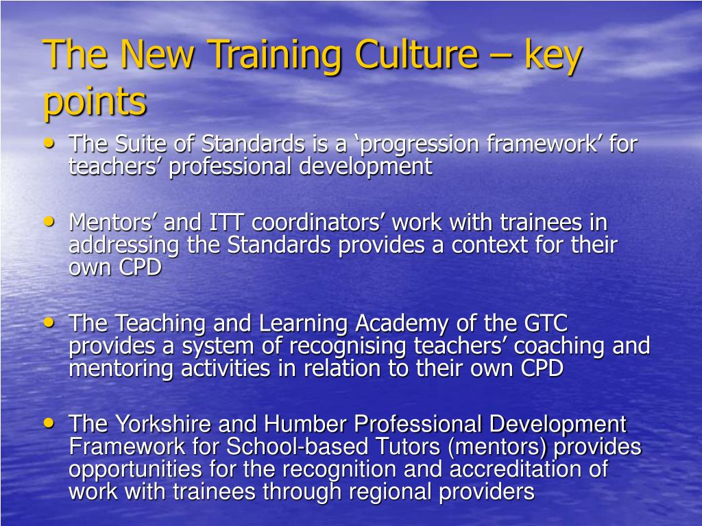The New Training Culture – key points