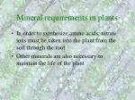 mineral requirements in plants
