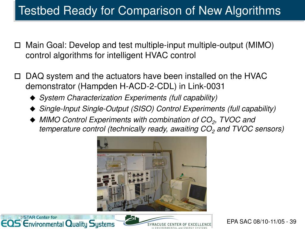 Testbed Ready for Comparison of New Algorithms