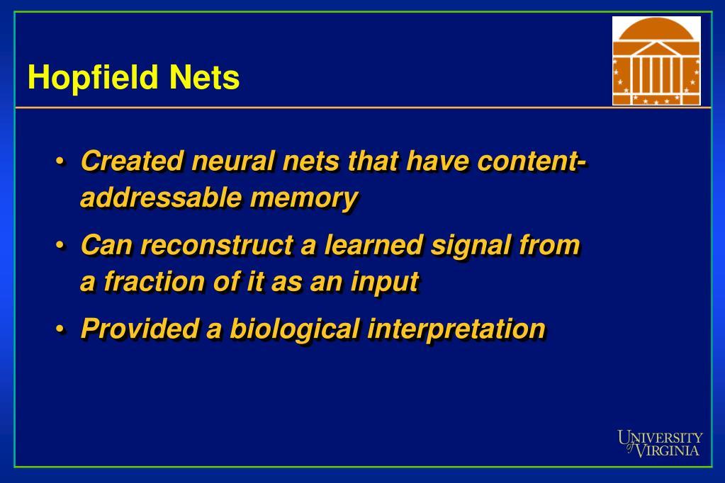 Hopfield Nets