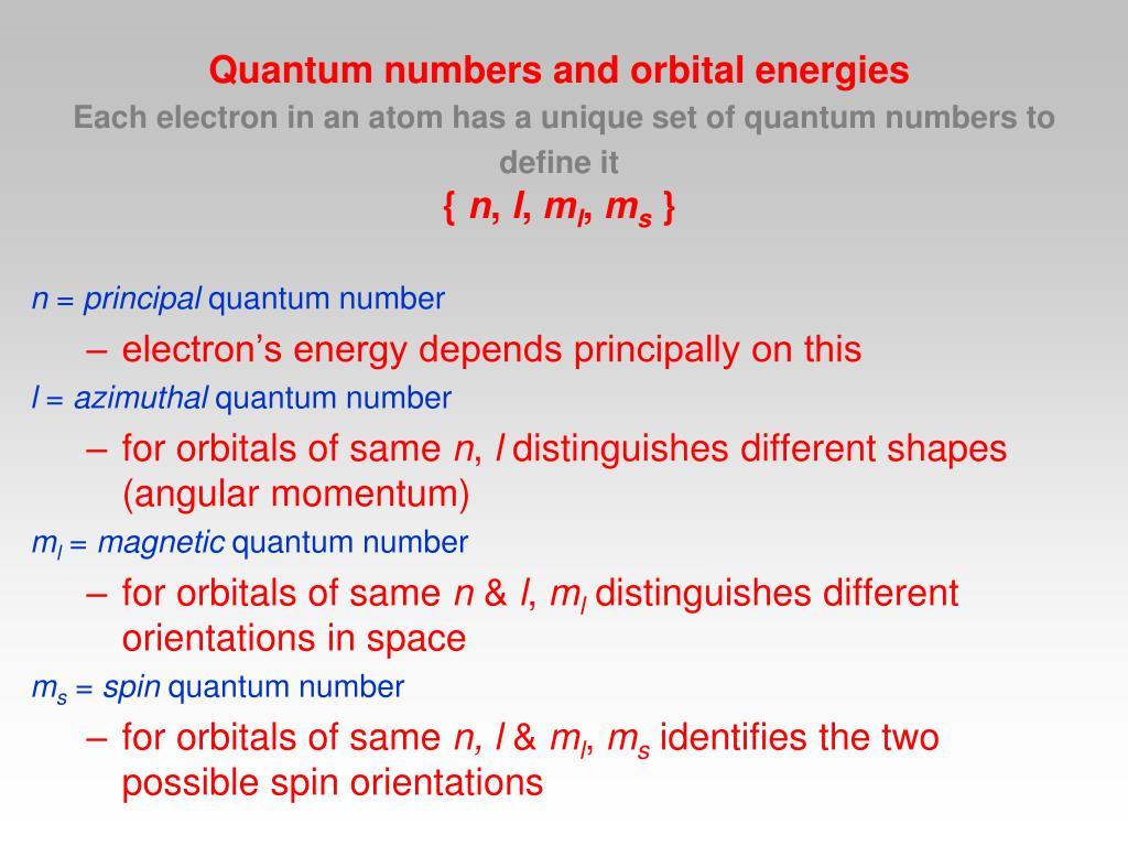 Quantum numbers and orbital energies