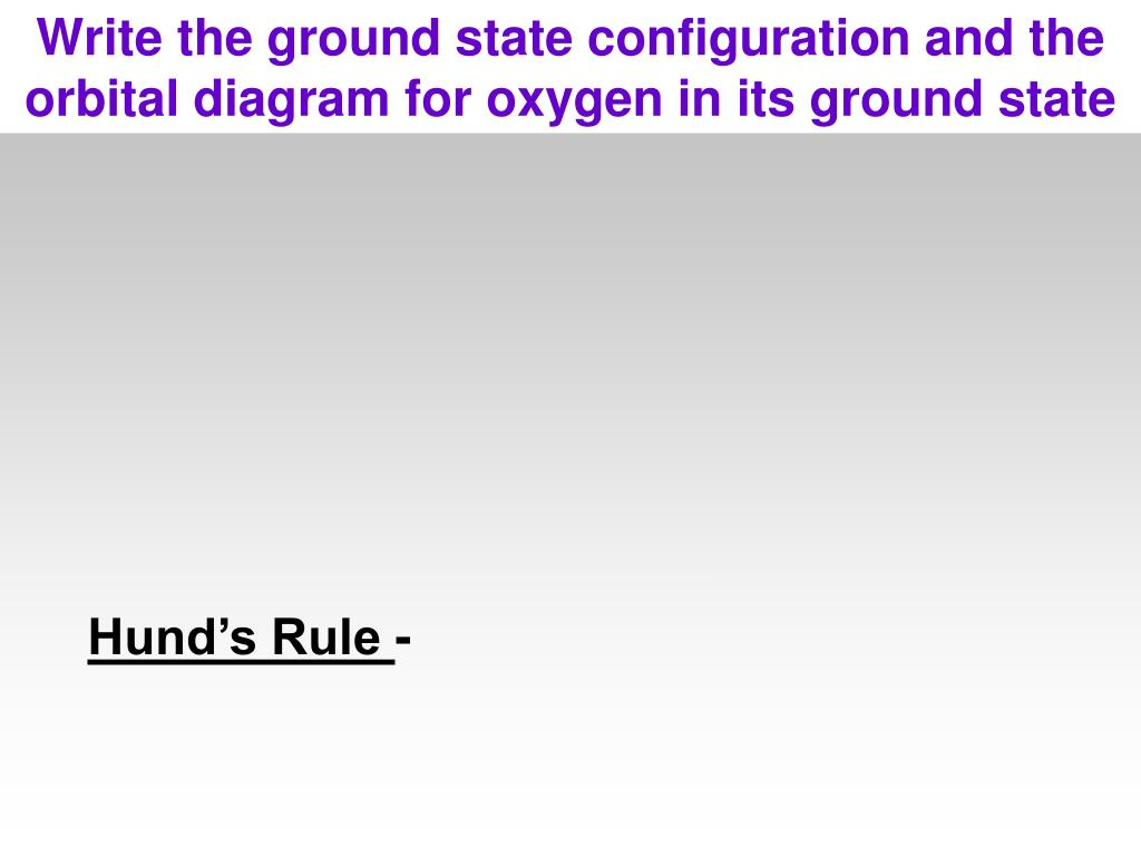 Write the ground state configuration and the orbital diagram for oxygen in its ground state