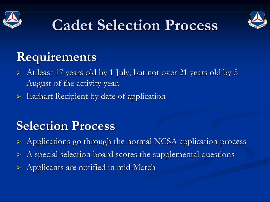 Cadet Selection Process