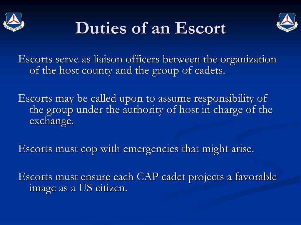 Duties of an Escort