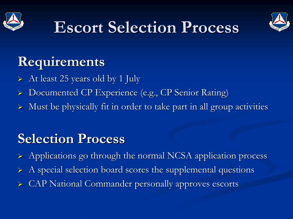 Escort Selection Process