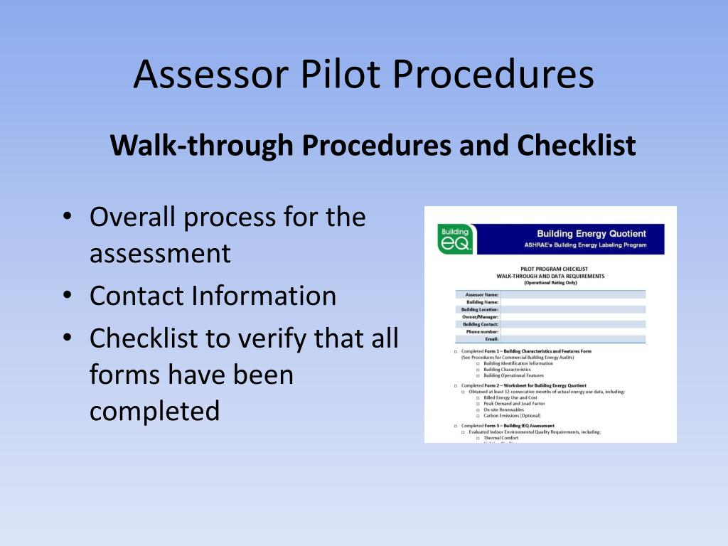 Assessor Pilot Procedures