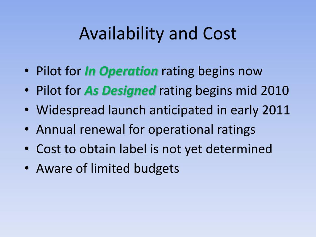 Availability and Cost