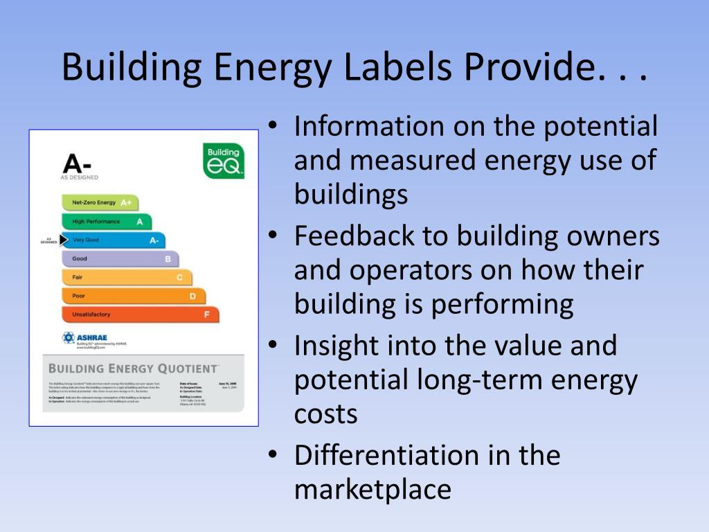 Building Energy Labels Provide. . .
