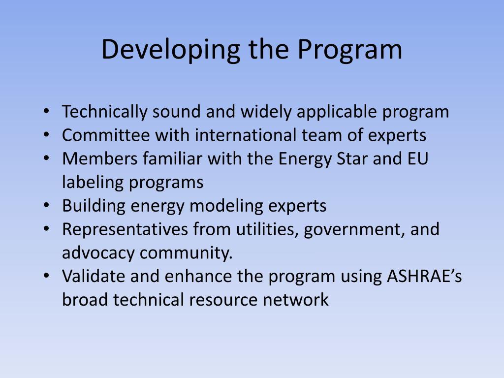Developing the Program