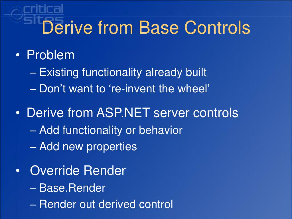 Derive from Base Controls