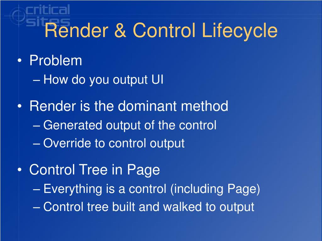 Render & Control Lifecycle