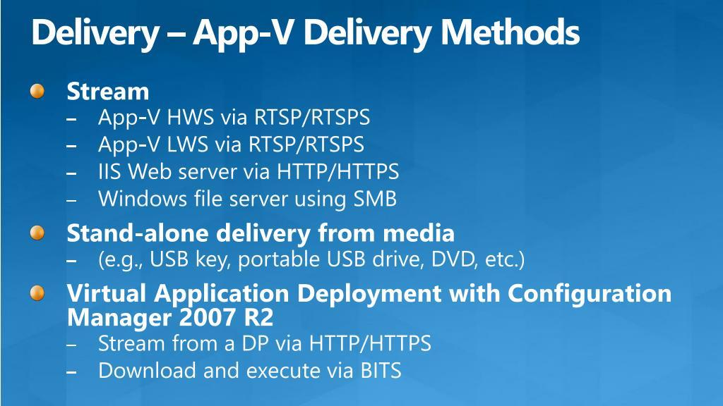 Delivery – App-V Delivery Methods