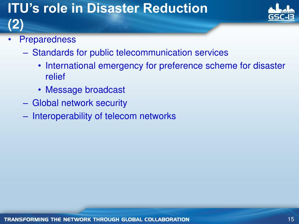 ITU's role in Disaster Reduction (2)