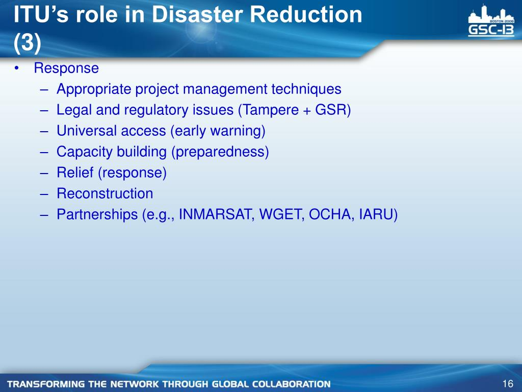 ITU's role in Disaster Reduction (3)