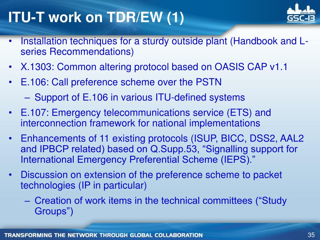 ITU-T work on TDR/EW (1)
