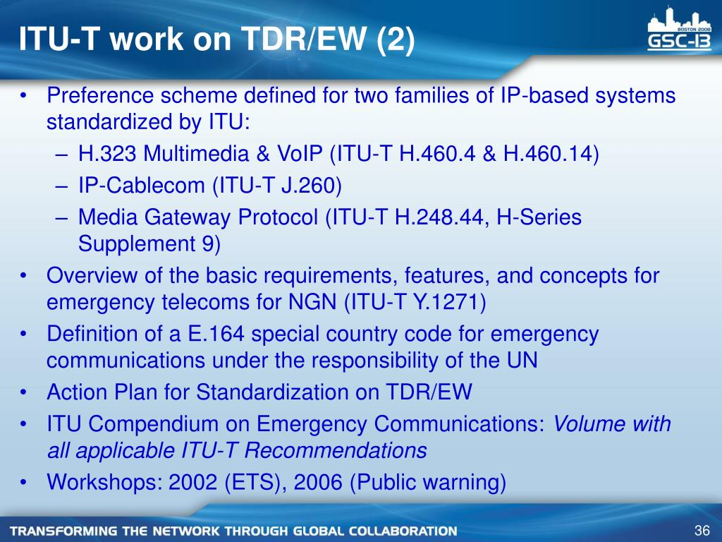 ITU-T work on TDR/EW (2)