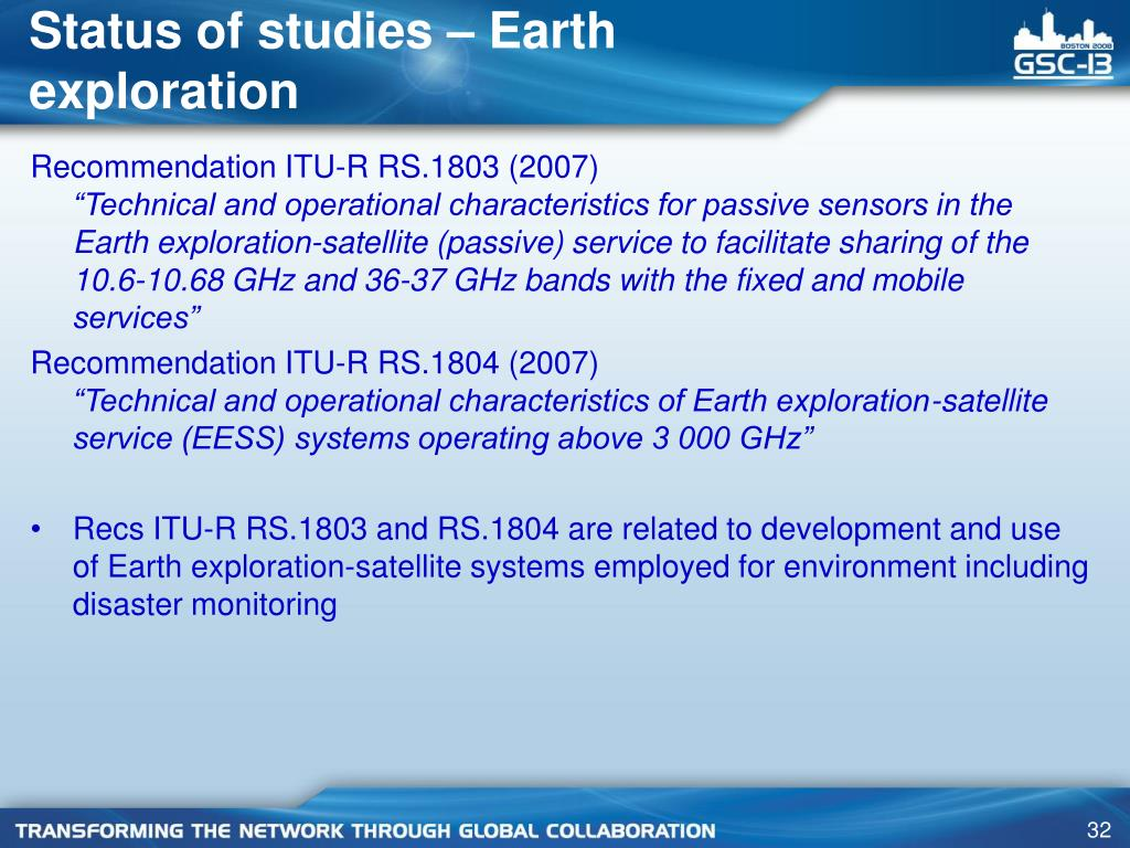 Status of studies – Earth exploration