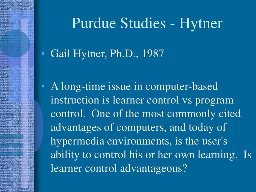 Purdue Studies - Hytner