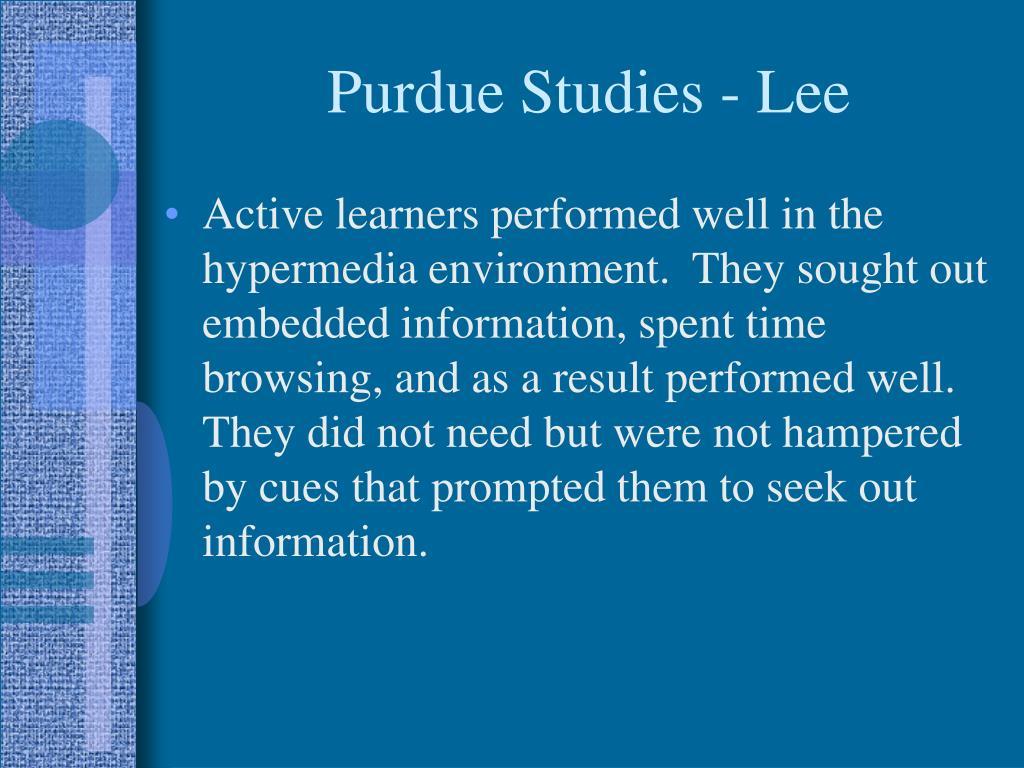 Purdue Studies - Lee