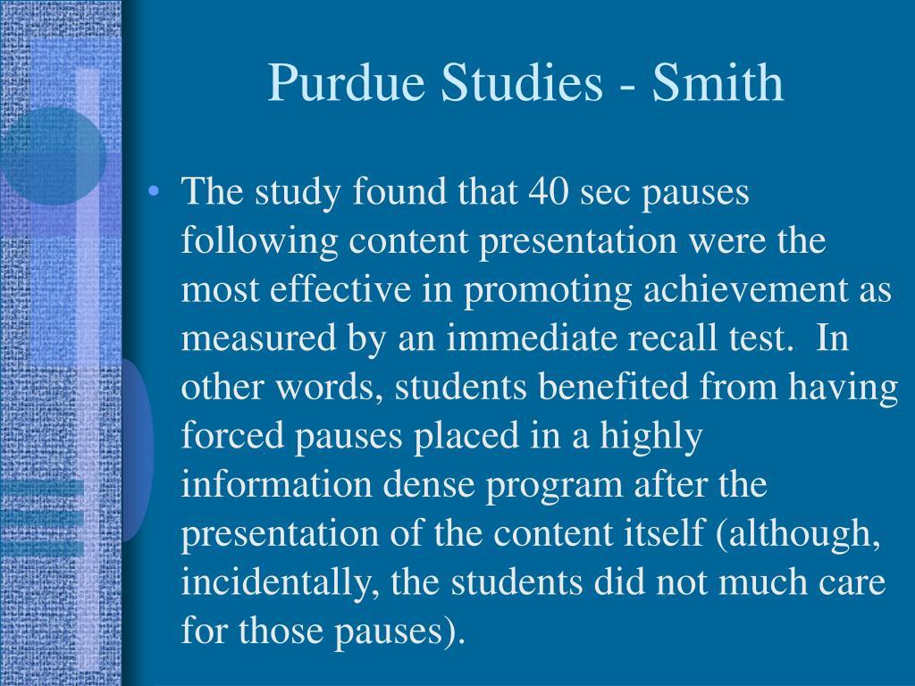 Purdue Studies - Smith