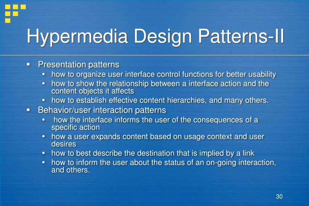 Hypermedia Design Patterns-II
