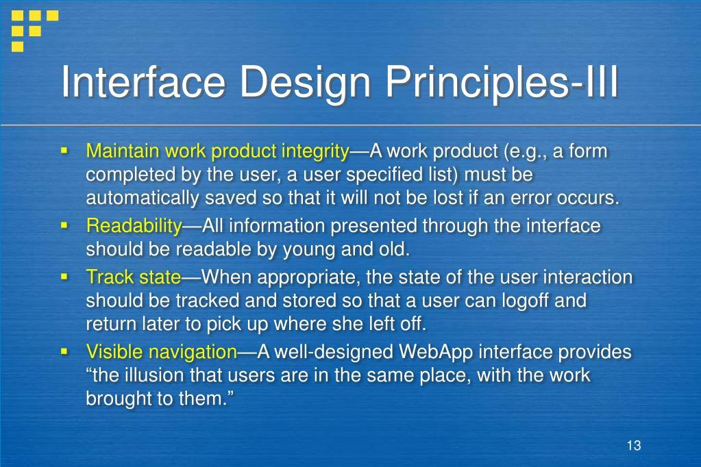 Interface Design Principles-III