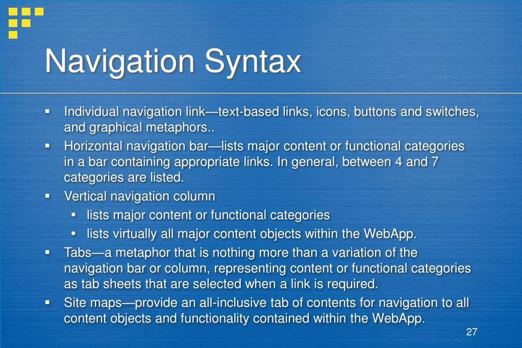Navigation Syntax