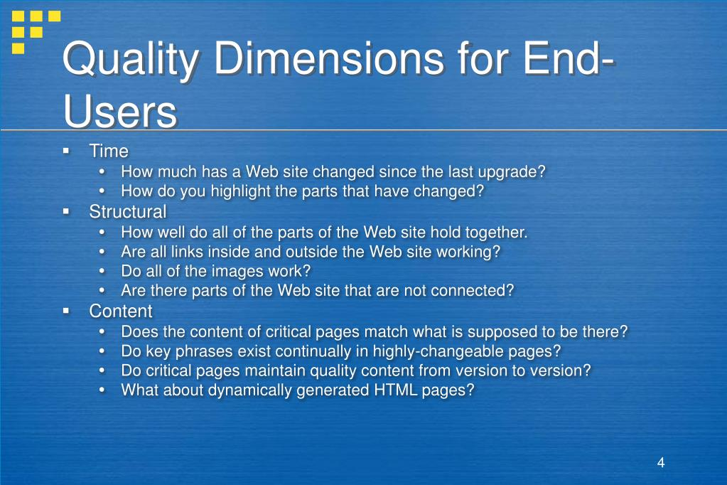 Quality Dimensions for End-Users