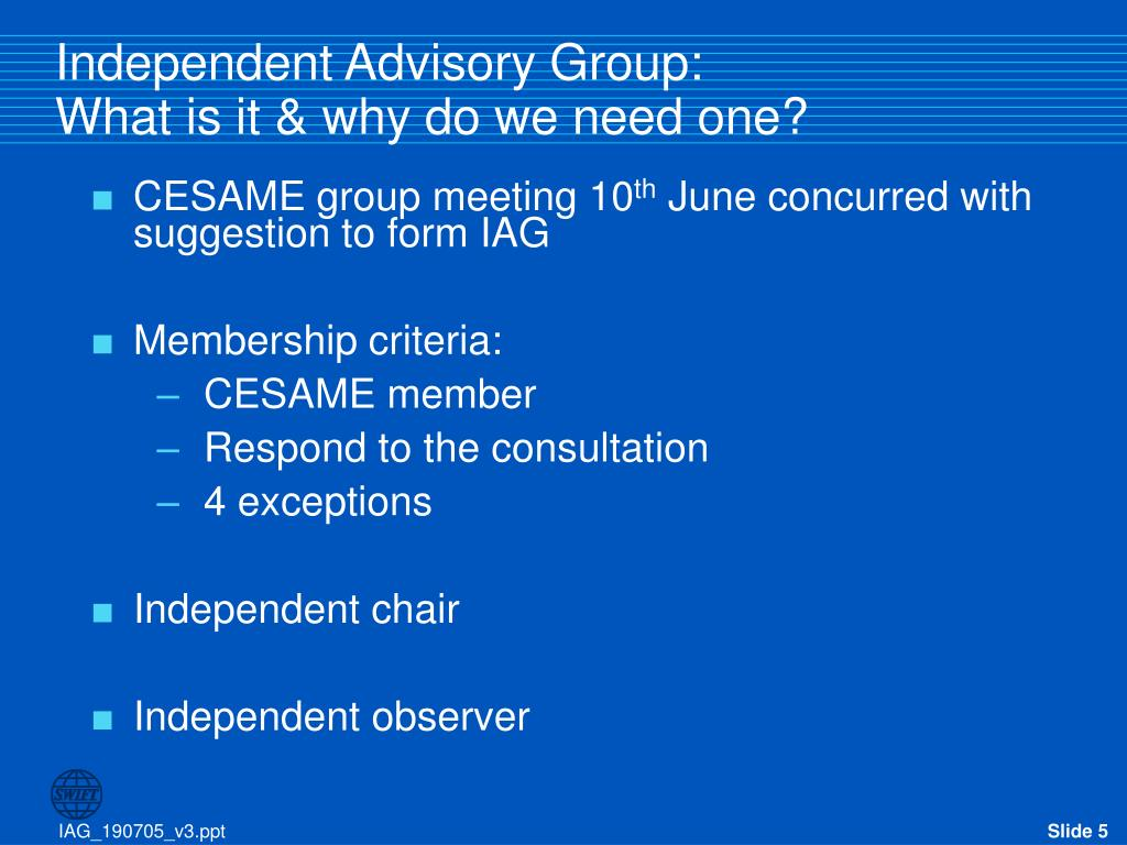 Independent Advisory Group: