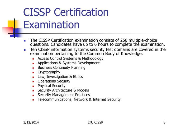 Cissp certification examination