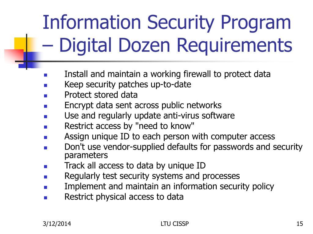 Information Security Program – Digital Dozen Requirements