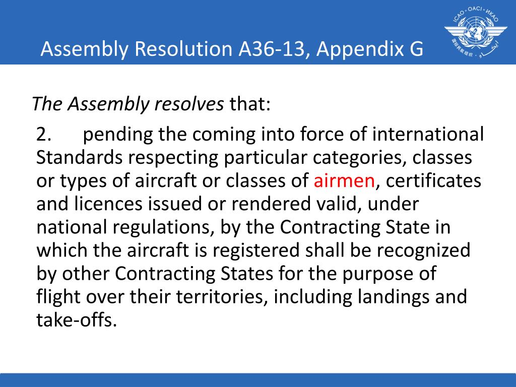Assembly Resolution A36-13, Appendix G
