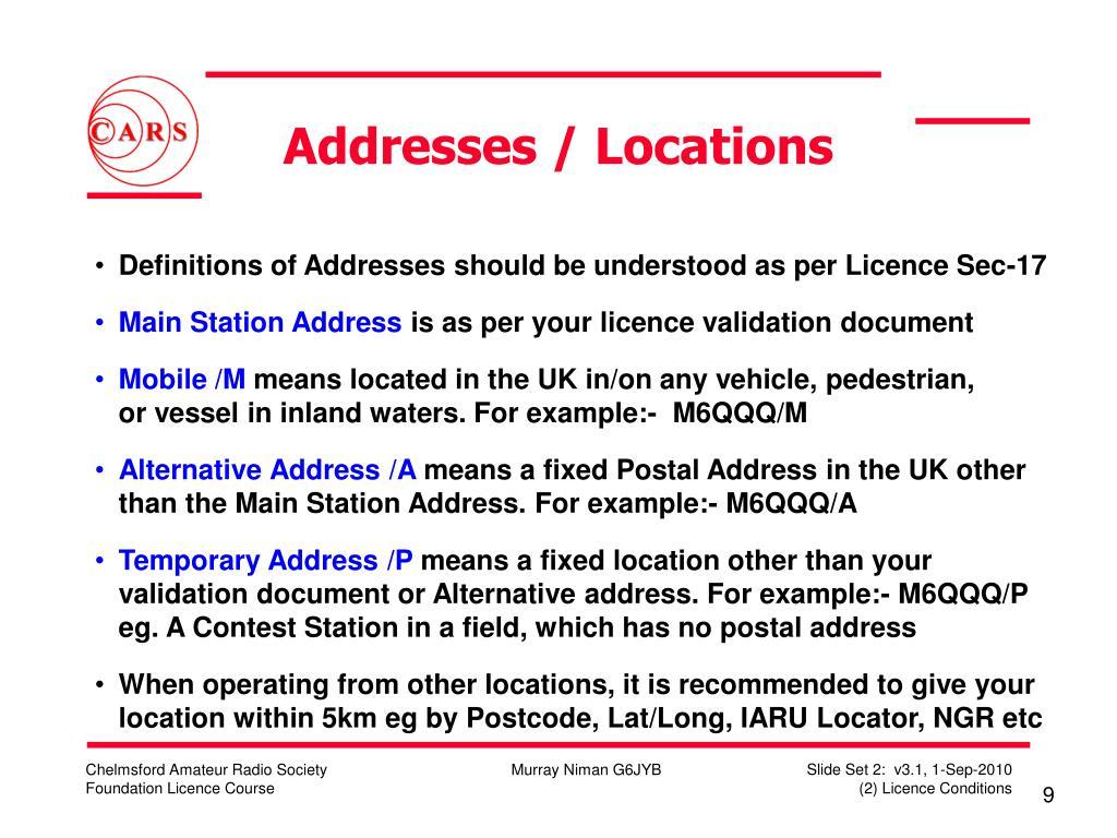 Addresses / Locations