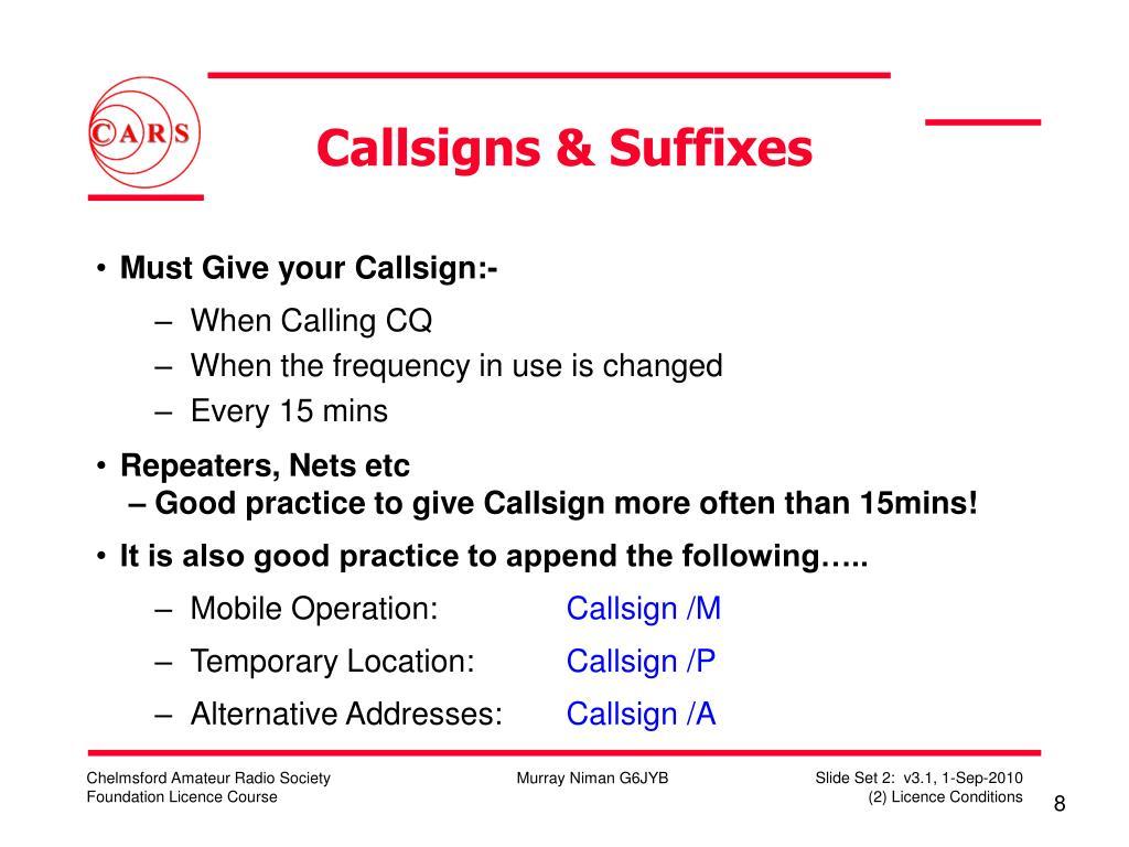 Callsigns & Suffixes