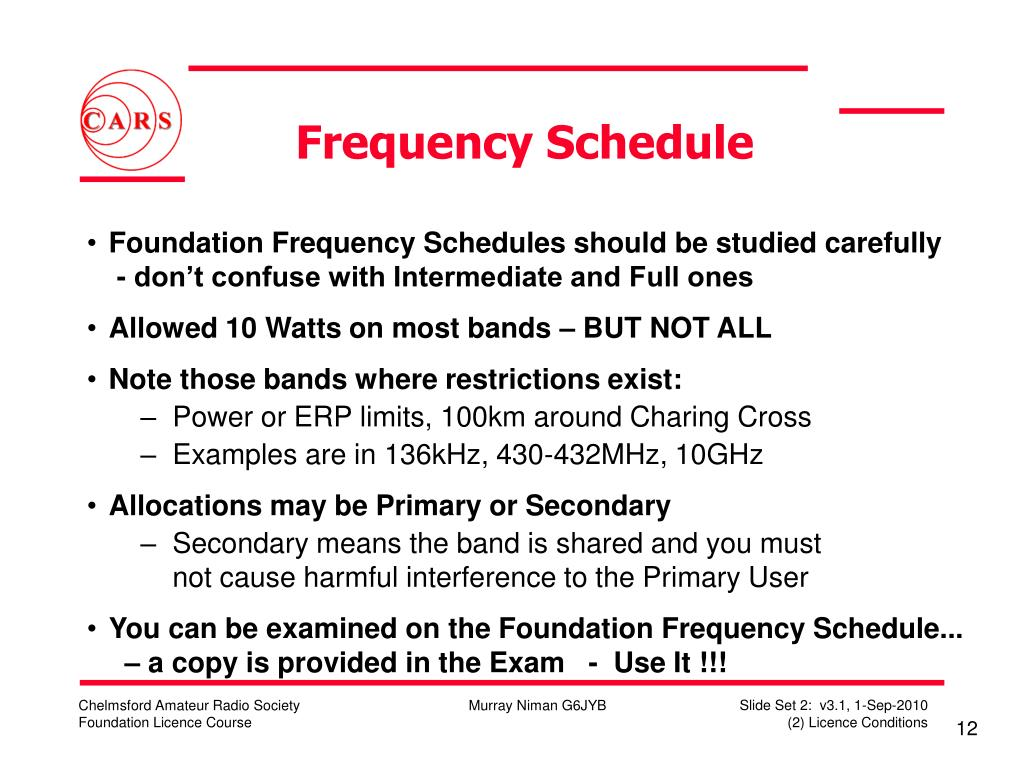 Frequency Schedule