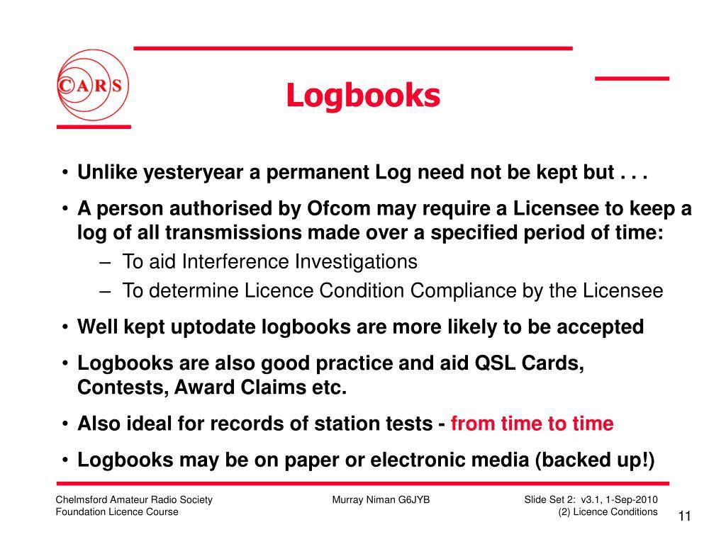 Logbooks