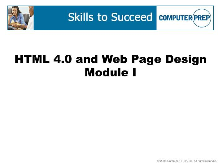 html 4 0 and web page design module i n.