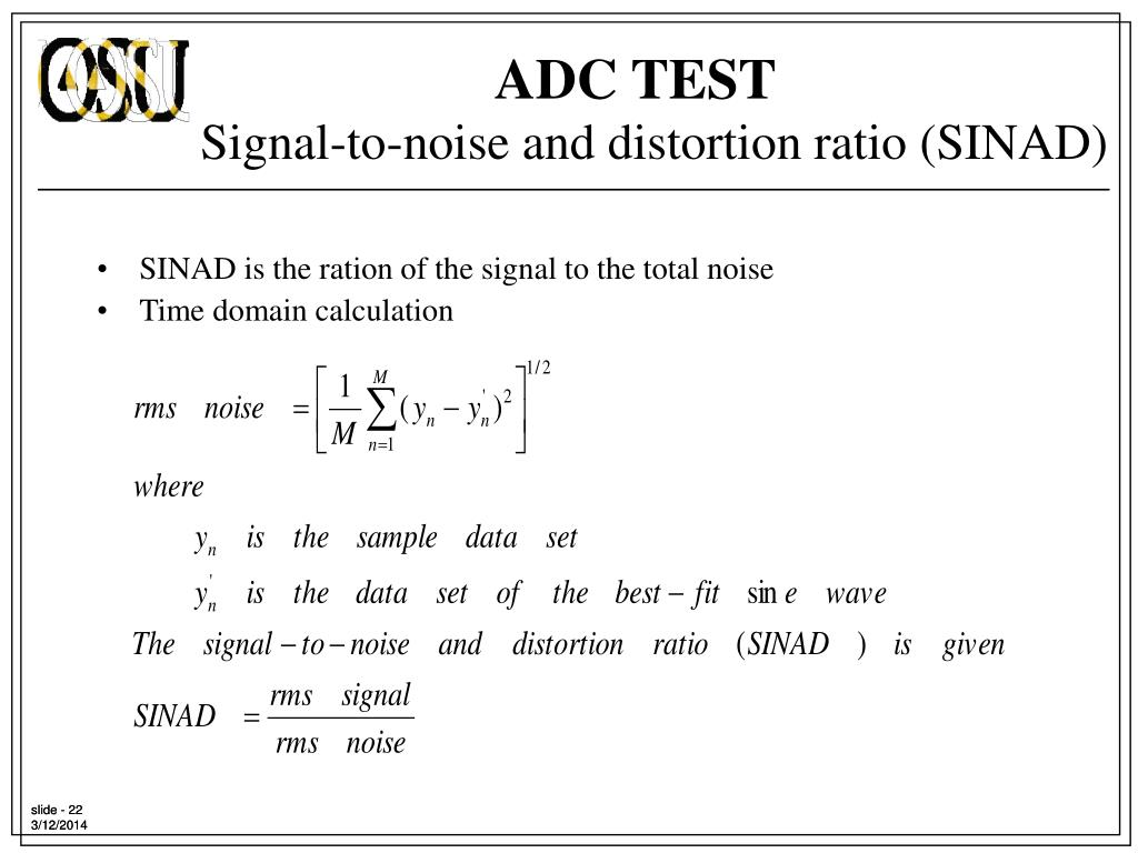 SINAD is the ration of the signal to the total noise